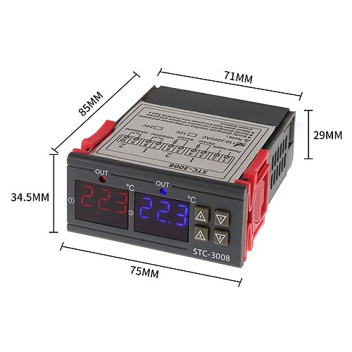 Dual Digital Incubator Thermostat Temperature Controller Two Relay Output Thermoregulator 10A Heating Cooling STC-3008 12V 220V