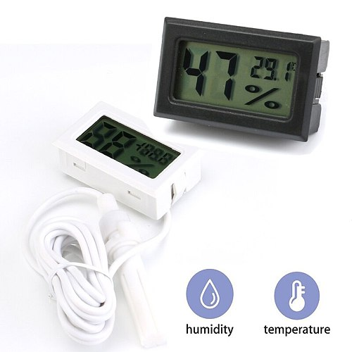 Mini Digital LCD Thermometer Hygrometer Temperature Indoor Convenient Humidity Temperature Sensor Meter Gauge Instruments Cable