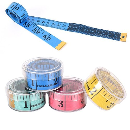 Hot 150cm/60  Body Measuring Ruler Sewing Tailor Tape Measure Soft Flat Sewing Ruler Meter Sewing Measuring Tape Random Color