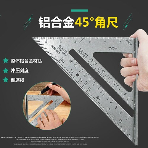 High quality triangulation 90/45 degrees thick angle ruler aluminum alloy woodworking measurement straight Tool Triangle