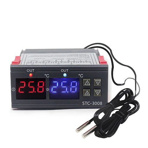 Dual Digital Incubator Thermostat Temperature Controller Two Relay Output Thermoregulator 10A Heating Cooling STC-3008 STC-1000