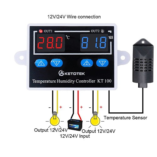 KT100 Digital Thermostat Humidity Controller Egg Incubator Temperature Humidity Controller 10A Direct Output Hygrometer Control
