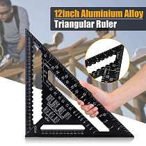 12 inch Metric Aluminum Alloy Triangle Angle Ruler Protractor Woodworking Measurement Tool 30cm Quick Read Square Layout Gauge