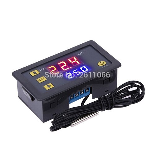 W3230 12V 24V AC110-220V Probe line 20A Digital Temperature Control LED Display Thermostat With Heat/Cooling Control Instrument