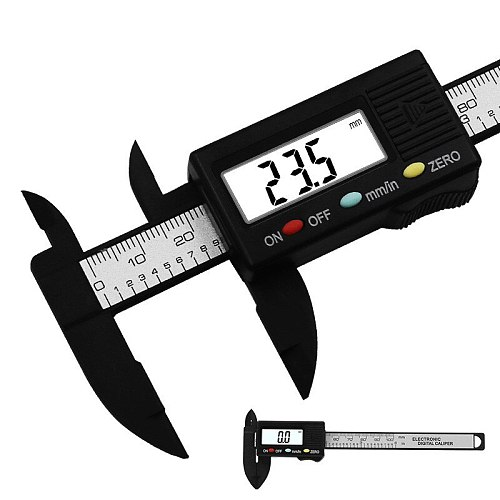 0-100mm/0.1mm Electronic Digital Caliper Carbon Fiber Composites mm&inch Vernier Caliper Measuring Tools Digital Ruler trammel