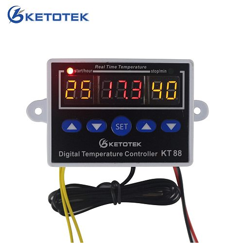 KETOTEK KT88 Temperature Controller Thermostat Digital Thermostat Regulator Temperature Control for incubator 10A 220V 12V 24v