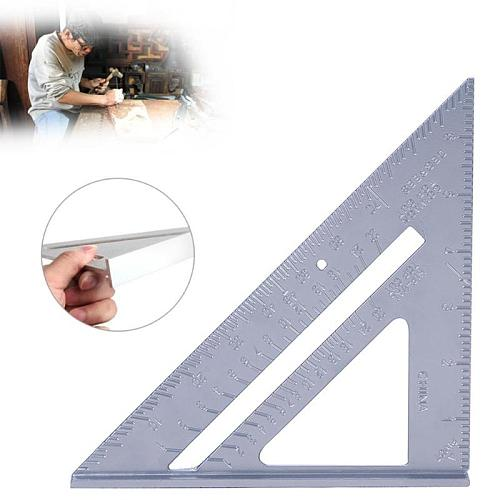 7 Inch Aluminum Alloy Measuring Ruler Speed Square Roofing Triangle Angle Protractor Trammel Measuring Tools For Carpenter