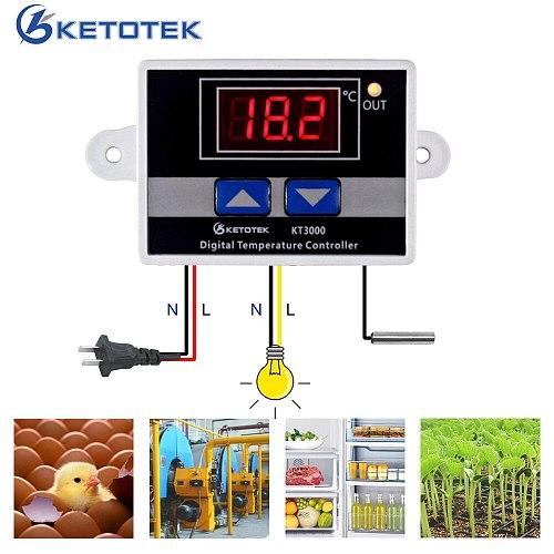 AC 220V 10A Digital Thermostat Temperature Regulator Controller Microcomputer Temperature Control Switch DC 12V 24V