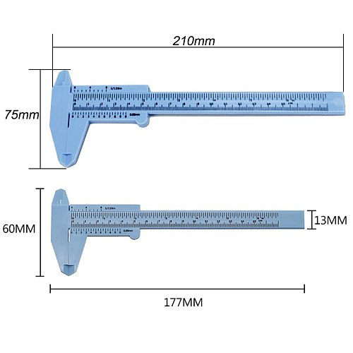 0-80mm/0-150mm 0.5mm Vernier Caliper Double  Scale Plastic Vernier Caliper Measuring Student Mini Tool Ruler Vernier Caliper#2