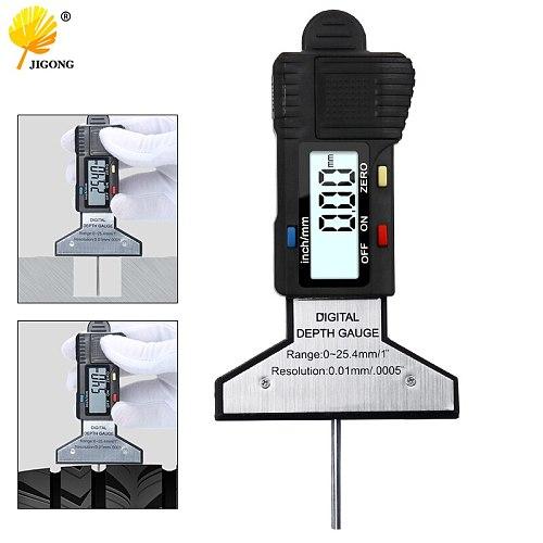 Black Digital Tread Depth Gauge 0-25MM Measuring Ruler Pressure Car Safety Measurer Tool Tire monitor Electronic