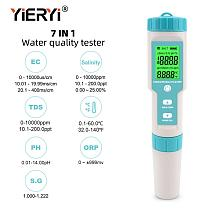 yieryi 7 in 1 Salinity/PH/TDS/EC/ORP/SG/TEMP Meter  Water Quality Meter Tester IP67 Pen type for food, farming, fish pond,Soup