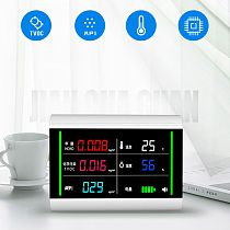 5-In-1 USB Rechargeable Air Quality Monitor Benzene HCHO TVOC LCD Digital Display Humidity Temperature Detector