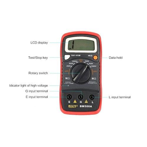 BM500A Insulation Resistance Meter 1000V Digital Megger Auto Range Insulation Resistance ohm Meter Tester Megohmmeter