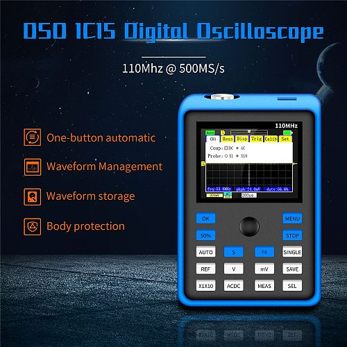 DSO1C15 Professional Digital Oscilloscope 500MS/s Sampling Rate 110MHz Analog Bandwidth Support Waveform Storage 2.4Inch Screen