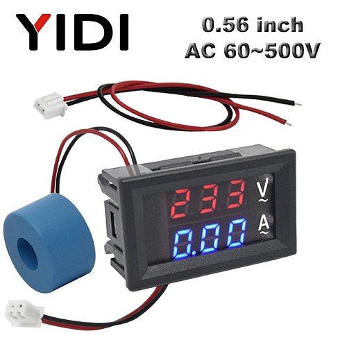 0.56'' Digital LCD Voltmeter Ammeter AC 60-500V 10A 50A 220V Voltage Current Meter Tester Detector Current Transformer