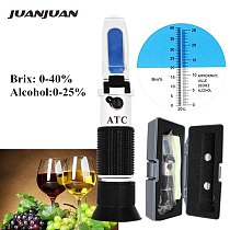 0-40% brix 0-25% alcohol Refractometer Tester for Alcohol Brix Beer Wine Fruit Grape Sugar Saccharimeter ATC with retail box 36%