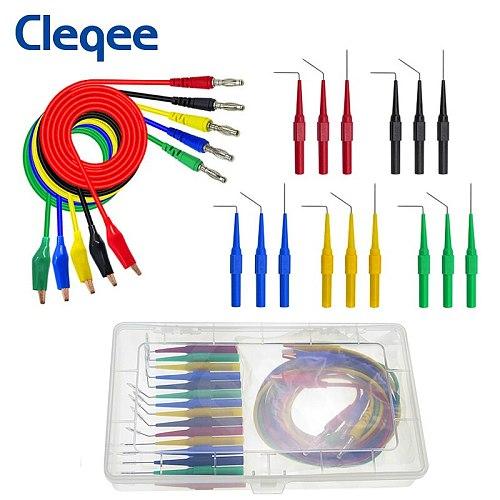 Cleqee P1920 20pcs/set Back Probe Kit Alligator Clip to 4mm Banana Plug Multimeter Test Lead 30V /10A for Automotive tool