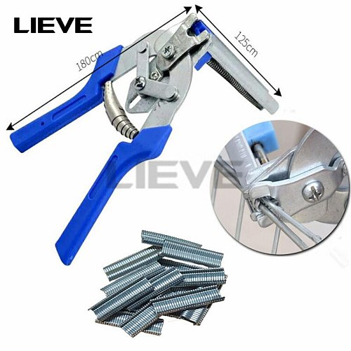 Hog Ring Plier Tool and 600pcs M Clips Staples Chicken Mesh Cage Wire Fencing Caged clamp