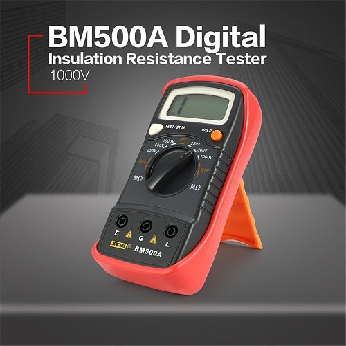 BM500A Digital 1000V Auto Range Insulation Resistance ohm Meter Tester Megohmmeter Multimeter Voltmeter LED indication