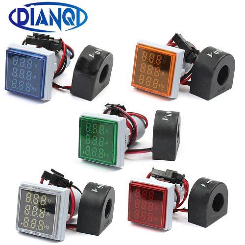 22mm Digital 3in1 Voltage Indicator AC Ammeter Voltmeter Hz Current LED Meter Tester Signal Lights AC 60-500V colorful frequency