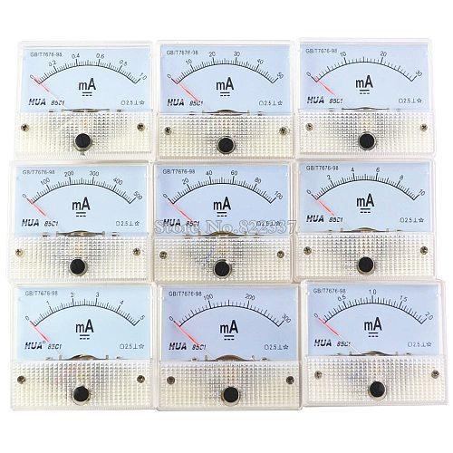85C1-mA DC Amp Meters Analog Meter Panel  Measuring Range 1mA 2mA 10mA 20mA 50mA 100mA