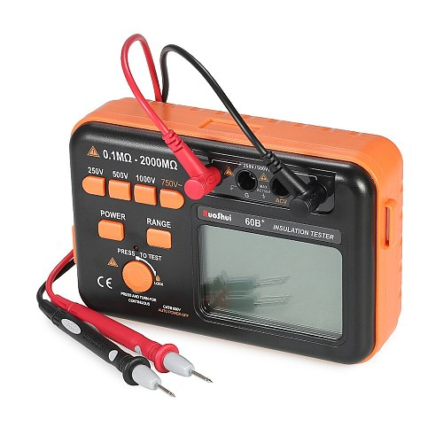 RuoShui 60B+ Digital Insulation Resistance Tester 1000V Megger Tester DC AC 2000m ohm High Voltage Short Circuit Input Alarm