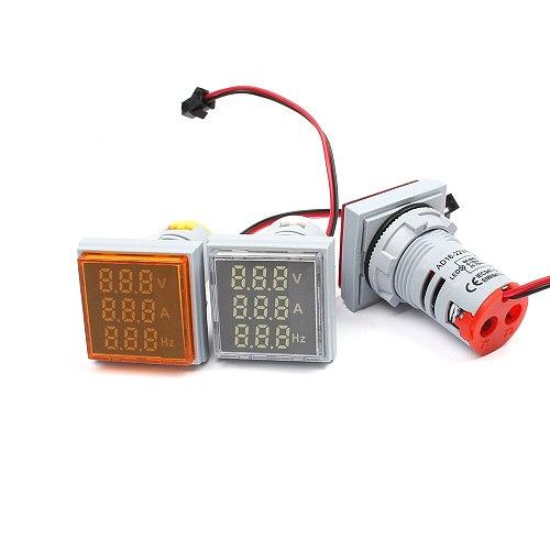Digital 3in1 22mm Voltage Indicator AC Ammeter Voltmeter Hz Current LED Meter Tester Signal Lights AC 60-500V colorful