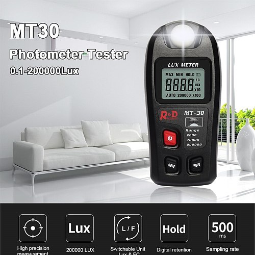 BLACK MT30 Photometer Tester Enviromental Testing Lux Meter 0~200,000lux Range Light Meter Pocket Design Illuminometer Lux/fc