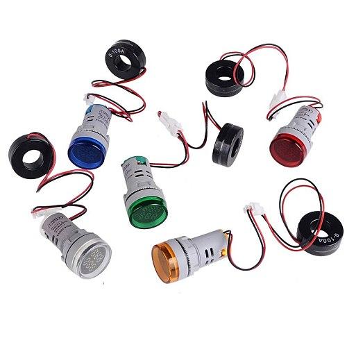 Round LED Dual Display AC Amp Volt Ampermeter Voltmeter Ammeter Digital Voltage Current Ampere Meter Indicator 60-500V 220V 100A