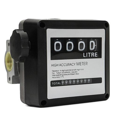 4 Digital Diesel FM-120 Gasoline Fuel Petrol Oil Flow Meter Counter Gauge 20-120L/Min for Refueling Device