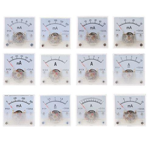 Mechanical Ammeter DC Analog Current Meter Panel Mechanical Pointer Type 1A/2A/3A/5A/10A/20mA/30mA/50mA/100mA/200mA/300mA/500mA