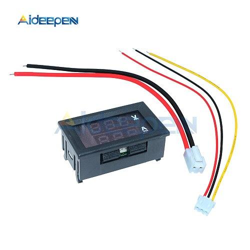 0.28  Mini Digital Voltmeter Ammeter DC 100V 10A 50A 100A Panel Amp Volt Voltage Current Meter Tester Dual LED Display 3 Bit
