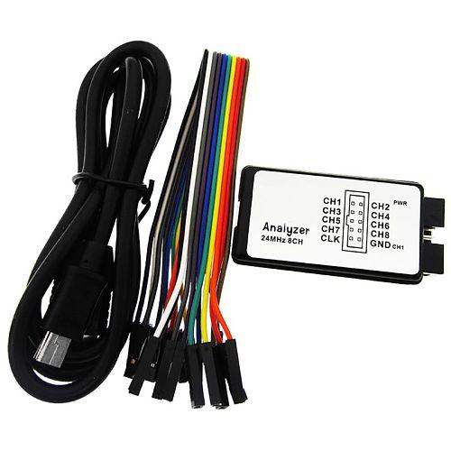 USB Logic Analyzer 24M 8CH Microcontroller ARM FPGA Debug Tool 24MHz, 16MHz, 12MHz, 8MHz, 4MHz, 2MHz Logic Analyzer usb 24mhz