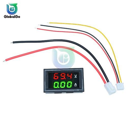 Mini Digital Voltmeter Ammeter DC100V 10A Panel Amp Volt Voltage Current Meter Tester Blue Red Dual LED Display Voltmeter Tool