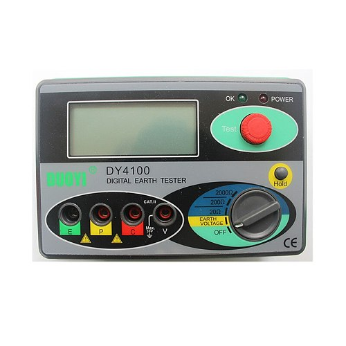 Megohmmeter 0-2000 Ohm Real Digital Earth Tester DY4100 Ground Resistance Tester Meter