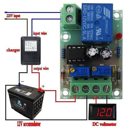 XH-M601 12V Battery Charging Control Board Intelligent Charger Power Control Panel Automatic Charging Power Control Switch Board