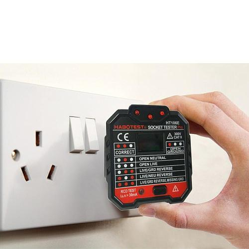 HT106 Digital Display Plug in Socket Voltage Outlet Tester Electric Fault Checker Advanced Circuit Line Wall Plug Finder