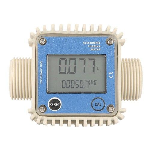 K24 Digital LCD Fuel Flow Meter Turbine Diesel Fuel Flow Meter Water Sea 10-90L/min Adjust Liquid Flow Meters Measuring Tool