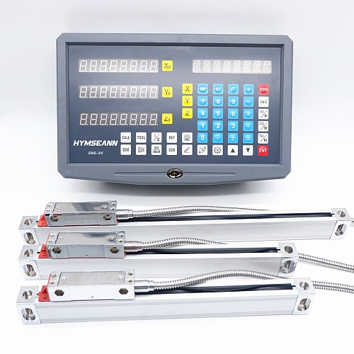 New SNS-3V Complete Milling Lathe Machine DRO Digital Readout Kit AC110V/220V Display and 3 Pieces 0-1000mm Linear Scale Encoder