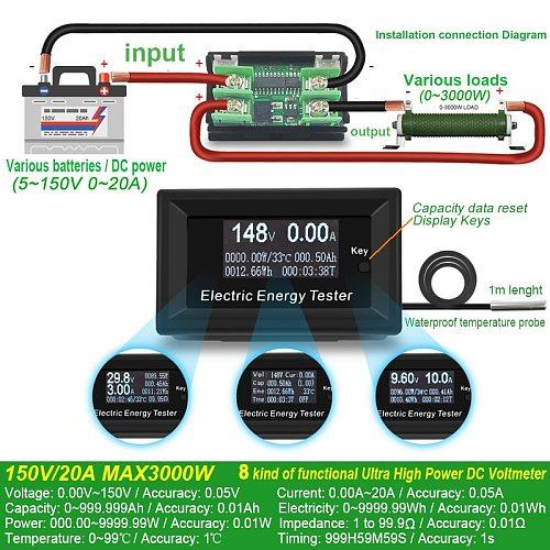 ATORCH DC Current Meters digital voltmeter ammeter voltage amperimetro wattmeter volt capacity tester indicator lcd monitor