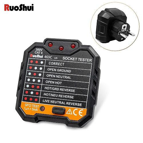 RuoShui 469 Socket Tester Pro Voltage Test Socket Detector EU  US Plug Breaker Electric Leakage FinderTest Polarity Phase Check