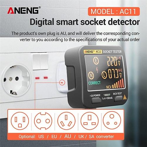 ANENG AC11 Digital Smart Socket Tester Voltage Test Socket Detector US/UK/EU/AU Plug Ground Zero Line Phase Check Rcd NCV test