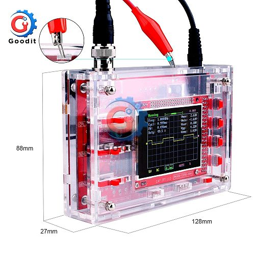 Fully Assembled Digital Oscilloscope 2.4  TFT LCD Display with Alligator Probe Test Clip Transparent Acrylic Case