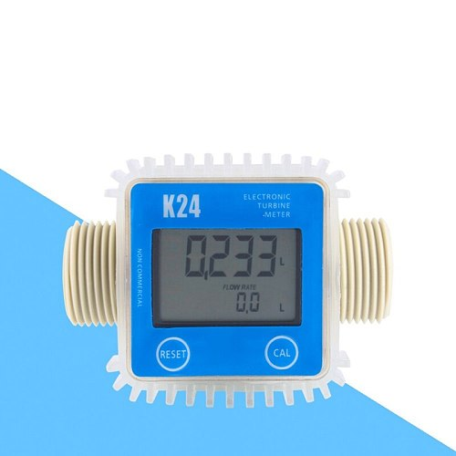 1 Pcs K24 Lcd Turbine Digital Fuel Flow Meter Widely Used For Chemicals Water