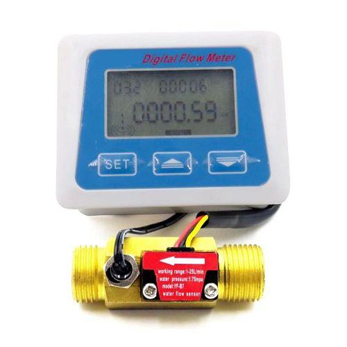Digital Lcd Display Water Flow Sensor Meter Flowmeter Rotameter Temperature