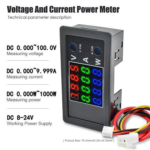4-Bit High Precision 100V 10A 1000W Digital Power Meter Voltmeter Ammeter Detector Volt AMP Panel Monitor Current Voltage Tester