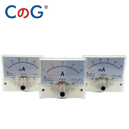 85C1 Ammeter dc Analog Meter Panel Pointer Type 1A 2A 3A 5A 10A 20A 30A mA μA AMP Gauge Current Mechanical Ammeters For Shunt