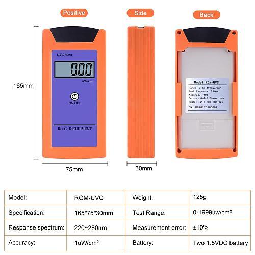 Yieryi RGM-UVC Reptile with UV Radiation Meter 1uw/cm2 High Precision UV Illuminance Meter UVC Luminosity Measurement Tool