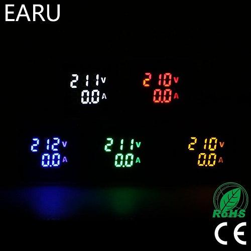 Mini Digital Voltmeter Ammeter 22mm Square AC 20-500V 0-100A Amp Volt Voltage Tester Meter Dual LED Indicator Pilot Lamp Light