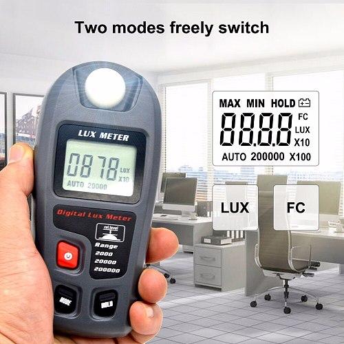 yieryi MT-30 Digital Luxmeter 0 ~ 200000 Lux LCD Display Light Meter Environmental Testing Illuminometer Sensor Large Photometer